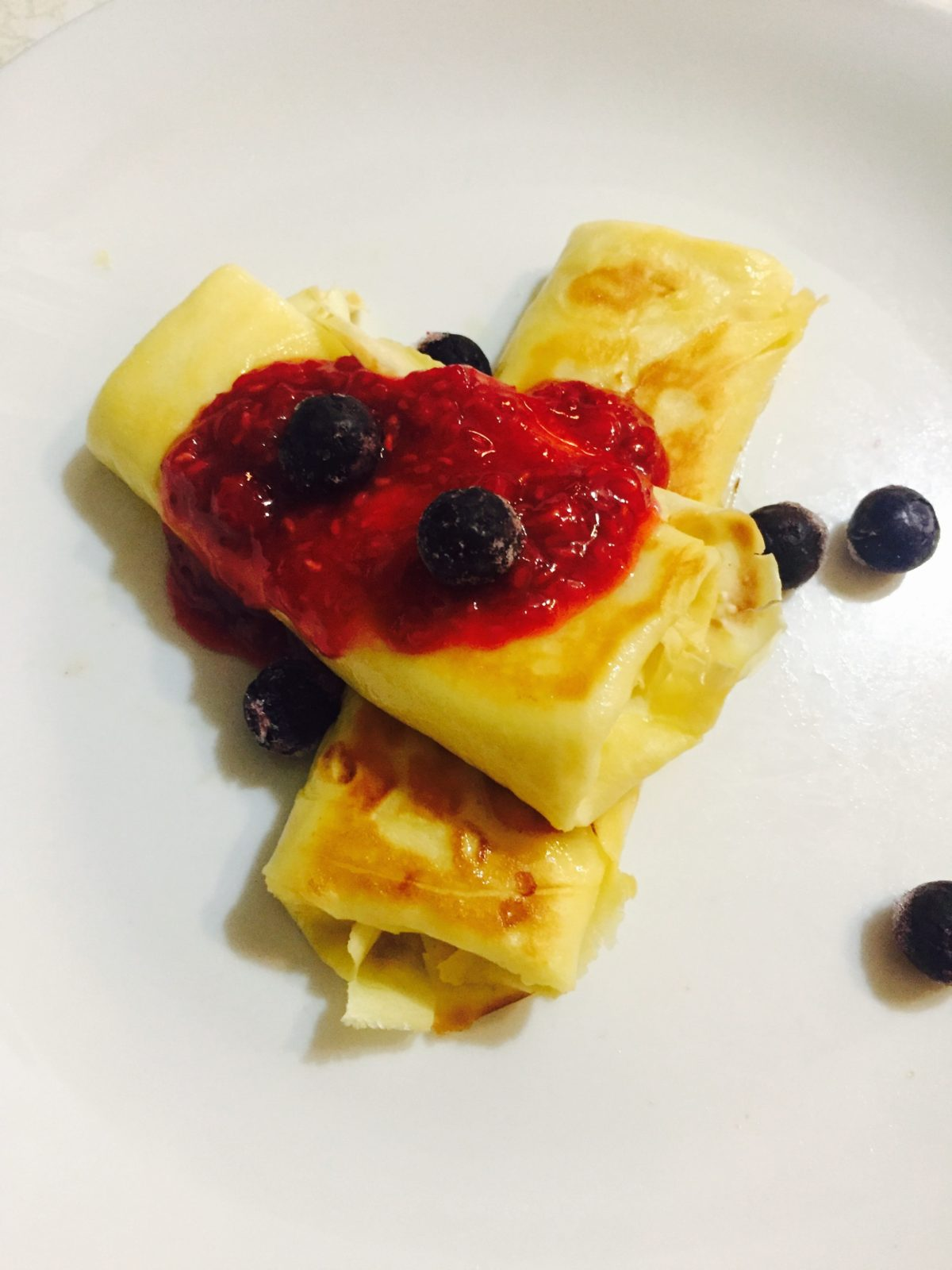 Cheese Blintz with Raspberry Sauce