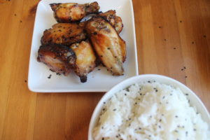 Baked Sweet Sticky Sesame Wings with rice