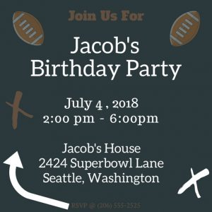 Football Birthday Chalkboard Invitation