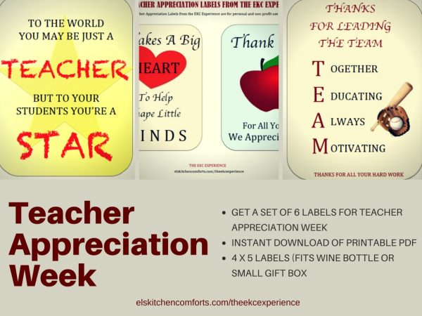 Labels for Teacher Appreciation Week