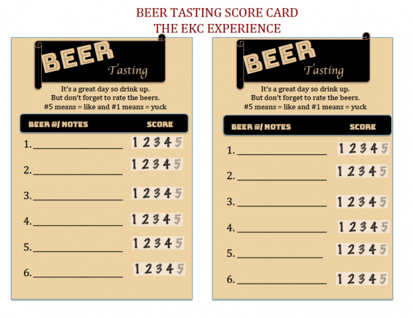 Beer Tasting Party Score Card