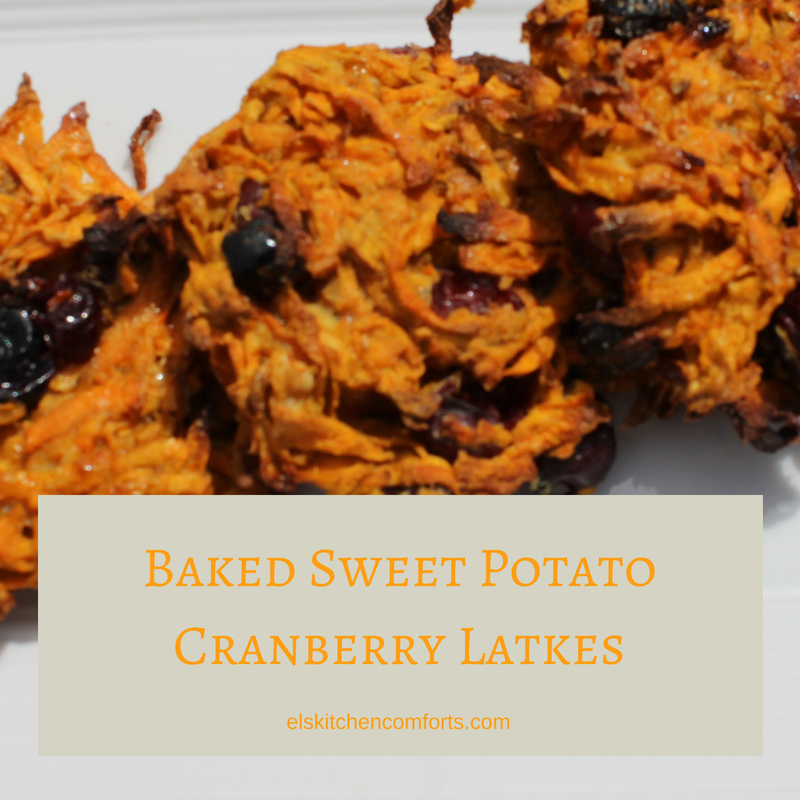 baked sweet potato cranberry latkes