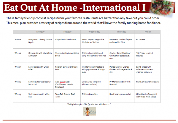 Eat Out At Home Meat Meal Plan International I