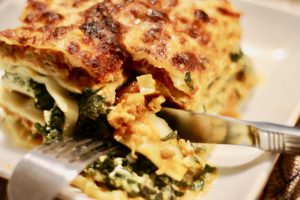 Beef Lasagna with pumpkin sauce