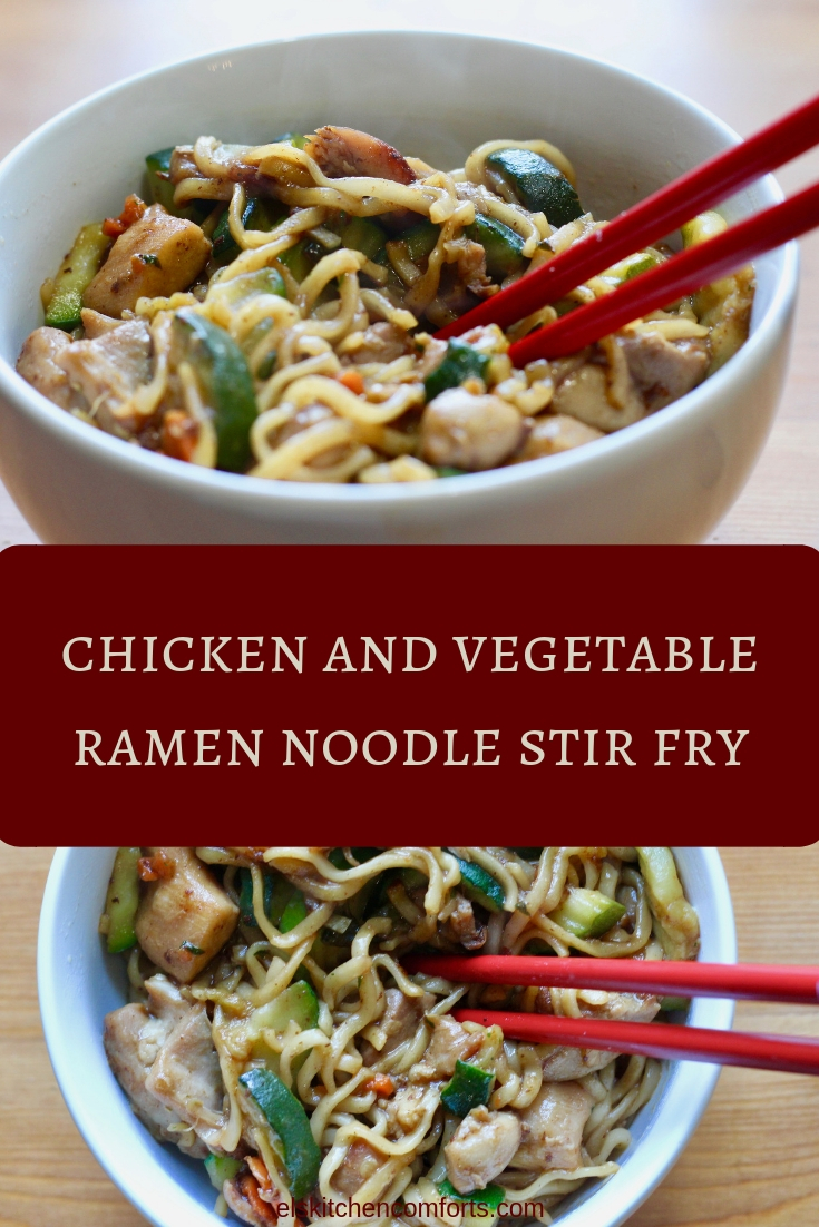 chicken and vegetable ramen noodle stir fry