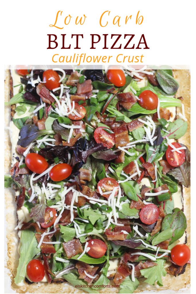low carb BLT Pizza with cauliflower crust ket0-friendly