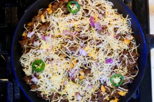 Easy One Pot Taco Skillet, perfect on a weeknight when you are busy but need something comforting and delish.
