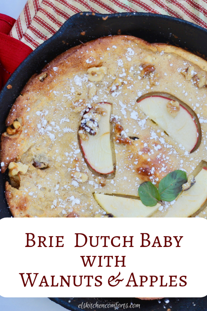 This Brie Dutch Baby with Walnuts and Apples is sweet, crispy and delicious. The brie perfectly pairs with the walnut and apples. Great for breakfast or brunch with your friends.
