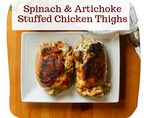 Spinach and artichoke stuffed chicken thighs
