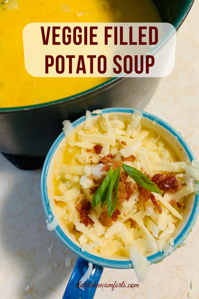 This Veggie Filled Potato Soup recipe is absolutely delicious and the perfect savory foundation to lunch or dinner.